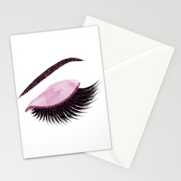 Glittery burgundy lashes Stationery Cards