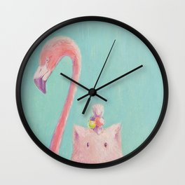 Pink Drawing  Flamingo Wall Clock
