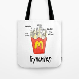 Frynemies, Frenemy, French Fries, Food Art, Funny Art, Illustration, Watercolor, Handlettering. Tote Bag