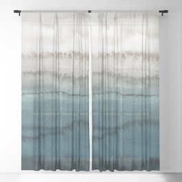 WITHIN THE TIDES - CRASHING WAVES TEAL Sheer Curtain