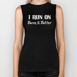 Keto I Run On Bacon and Butter Funny Keto Diet Keto Lifestyle Biker Tank