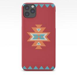 Navajo Aztec Pattern Orange Turquoise on Red iPhone Case