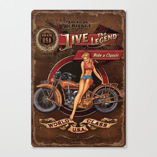 Live the Legend - Motorcycle Vintage Tin Sign Canvas Print