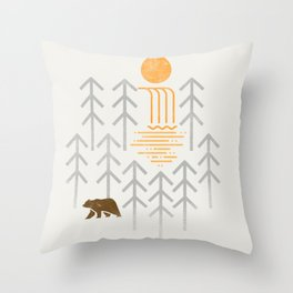 The Brown Bear - Geometric waterfall trees and forest, sun Throw Pillow