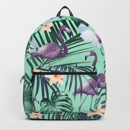 Tropical Flamingo Flower Jungle #5 #tropical #decor #art #society6 Backpack