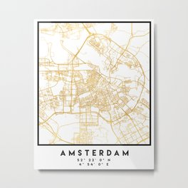 AMSTERDAM NETHERLANDS CITY STREET MAP ART Metal Print