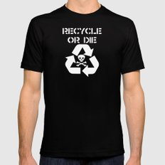 Recycle White MEDIUM Black Mens Fitted Tee