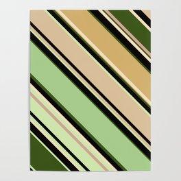 Striped pattern, diagonal.Brown, beige, green ,black stripes. Poster