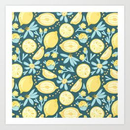 Lemon Pattern Green Art Print