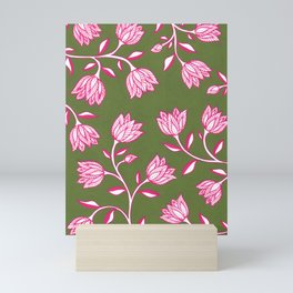 Indian Floral Pattern - Sap Green & Magenta Mini Art Print