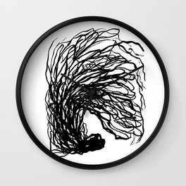 Black and white abstract brushstroke modern minimal monochromatic art print home decor college dorm Wall Clock
