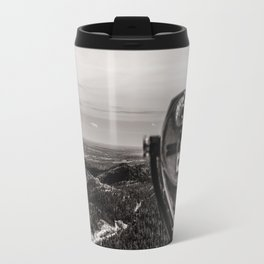Mountain Tourist Binoculars Black and White Travel Mug