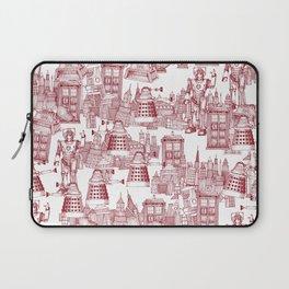 Doctor Who Toile de Jouy | 'Walking Doodle' | Red Laptop Sleeve