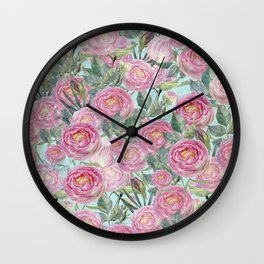 Vintage Roses Mint Wall Clock