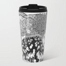 Zentangle Vermont Landscape Black and White Illustration Travel Mug