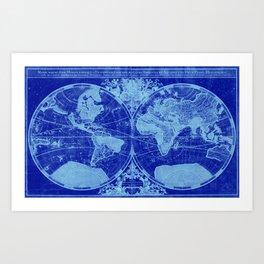 World Map (1691) Blue & Light Blue Art Print
