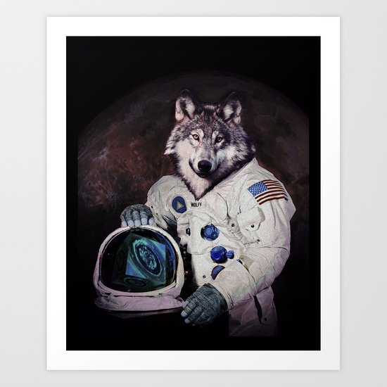Wolfy goes to Mars Art Print