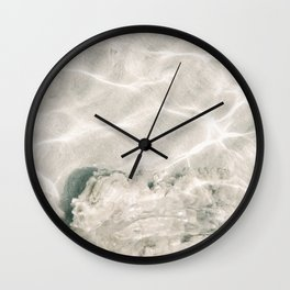 Clear water | beach fine art photography | sea wave and sand Wall Clock