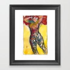 donna albero con capelli rossi Framed Art Print