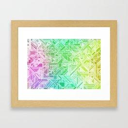 Bright Gradient (Violet Purple Lime Green Neon Yellow) Geometric Pattern Print Framed Art Print