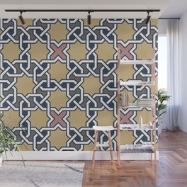 Entwined graphic Lines Home Design - mosaic grey beige Wall Mural