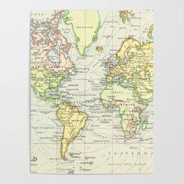 Vintage World Map (1899) Poster
