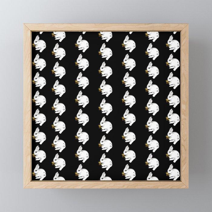 Some'bunny' Loves you...LOTS! (on black) Framed Mini Art Print