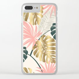 Tropical Print with Gold Clear iPhone Case