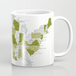 Green and grey USA map with labels Coffee Mug