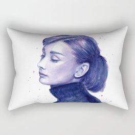 Audrey Hepburn Watercolor Portrait Rectangular Pillow