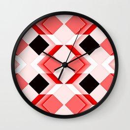 Op art, diamonds, cuboids and cubes, reds Wall Clock