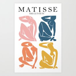 Abstract woman pastel color matisse woman artwork the cut outs Art Print