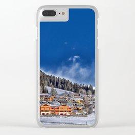 Winter Village Landscape Clear iPhone Case