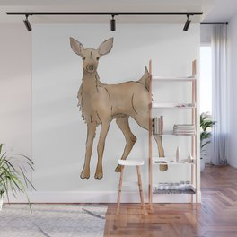 Cute Kawaii Brown Deer Watercolor Print Wall Mural