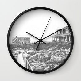 1895 Windswept Black Point Mansion, Scarborough Beach, Narragansett, Rhode Island Then & Now Wall Clock