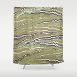 Electrified Ripples Olive Green Shower Curtain