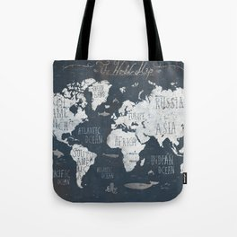 World Map / Rusty Tote Bag