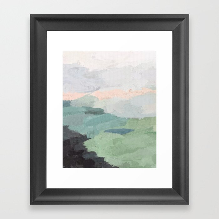 Seafoam Green Mint Black Blush Pink Abstract Nature Land Art Painting Gerahmter Kunstdruck