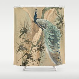 Peacock In The Pines Shower Curtain