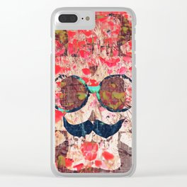 vintage old skull portrait with red poppy flower field abstract background Clear iPhone Case