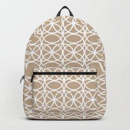 Pantone Hazelnut and White Rings Circle Heaven 2, Overlapping Ring Design - Digital Artwork Backpack
