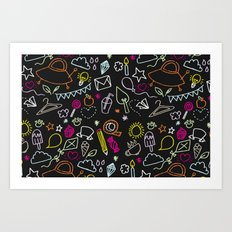 chalkboard doodles Art Print