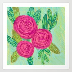 Roses painting chalk Art Print