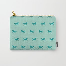 Trotting Arabian Horse Teal Green Horse Lover Carry-All Pouch