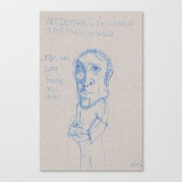 Man with Long Face and Gift Canvas Print
