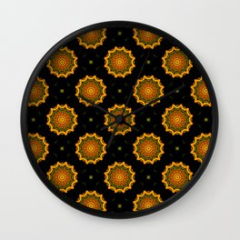 Black and Gold Autumn Floral Mandala Fractals - Moroccan style Wall Clock