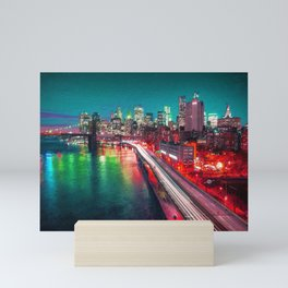 New York City Lights Red Mini Art Print