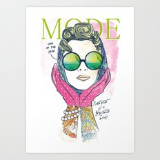Hipster lady Art Print