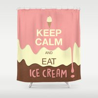 keep calm Shower Curtains featuring Keep Calm  by Graphic Tabby