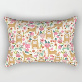 Shiba Inu floral dog must have gifts for shiba lovers florals dog breed Rectangular Pillow